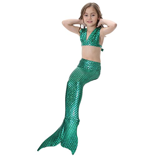 hibote Kids Swimmable Sirena Swimming Costumes Dress Verde-GB01