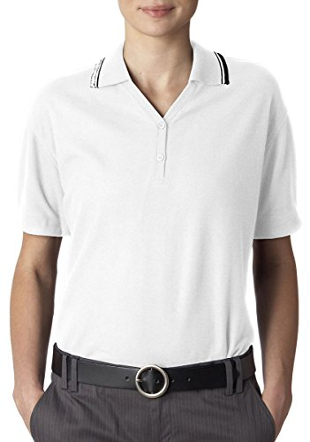 8546 UltraClub Womens S/S Pique Rib-Knit Collar Tipping Golf Shirt XL White