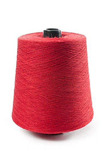 (100% Linen Lace Yarn Cream Red Turquoise Teal 1lb Cone 3-ply Flax (Red))