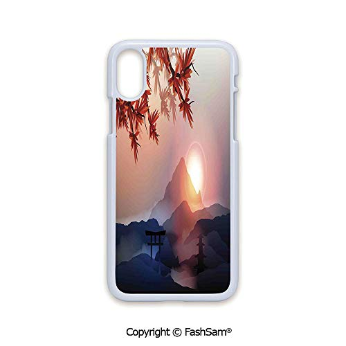 Fashion Printed Phone Case Compatible with iPhone X Black Edge Majestic Himalayas Peaks Tops with Silhouette of Sun Life Circle Symbol Culture Artwork 2D Print Hard Plastic Phone -