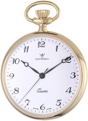 Catorex Men's 871.6.1815.120 Les Breuleux 18k Gold Plated Brass White Quartz Pocket Watch