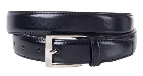 Sportoli Mens Classic Genuine Leather Metal Buckle Uniform Casual or Dress Belt - Black (46) (Confederate Pipe Tobacco)