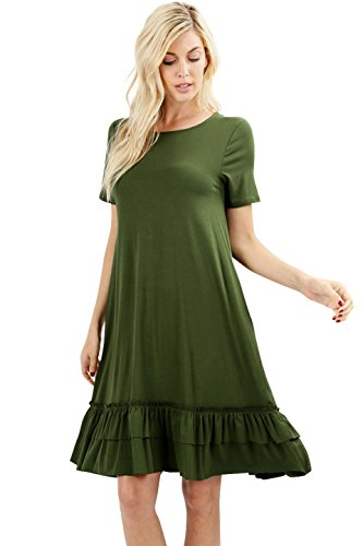 (Women Short Sleeve Comfy Middy Ruffled Dress with Pockets (Army Green, 3X))