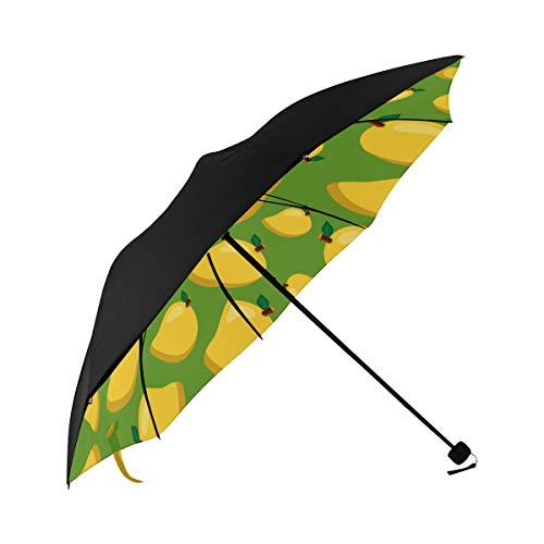 - Mango Fruit Tropical Summer Sweet Compact Travel Umbrella Sun Parasol Anti Uv Foldable Umbrellas(underside Printing) As Best Present For Women Sun Uv Protection