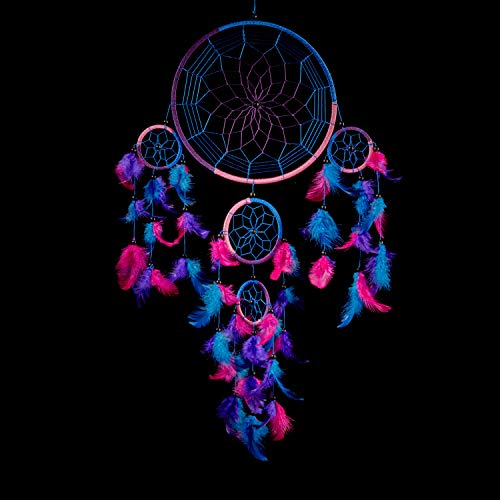 Caught Dreams Dream Catcher Traditional Indian Wall Art | Delicate Design | Vibrant Colors | Ideal Dimensions 85quot x 24quot | Wall Hanging Home décor | Handmade | Royal Blue Pink and Purple