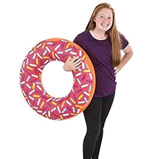 4E's Novelty 4 Donuts Swim Tubes for Kids, Inflatable Donuts - 30 Inches - Pool Party Floats and Donuts Party Decorations, Summertime Fun, Assorted Colors