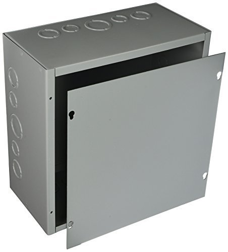 Hoffman ASE12X12X6 Pull Box, Screw Cover with Knockouts, Steel, 12'' x 12'' x 6'', Gray