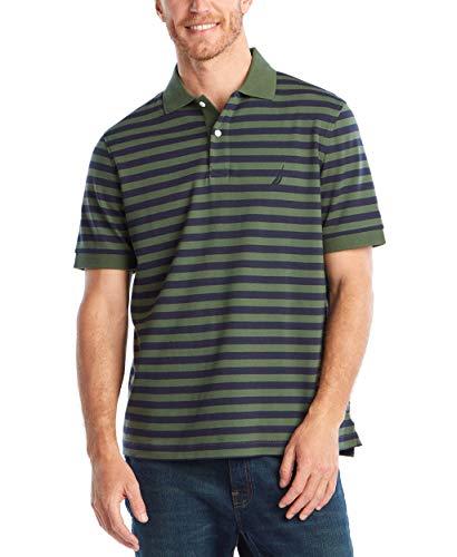 Nautica Men's Classic Fit 100% Cotton Soft Short Sleeve Stripe Polo Shirt, Pine Forest, XX-Large Cotton Classic Fit Shirt