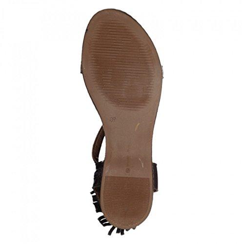 Tamaris Mujeres tanga sandalia 1-28128-26-306 mocca, tamaño 37-41, tapicería de cuero completo, Touch`it plantilla braun