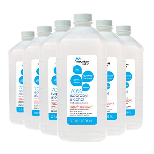 Mountain Falls 70% Isopropyl Alcohol First Aid Antiseptic for Treatment of Minor Cuts and Scrapes, 32 Fluid Ounce (Pack of 6) ()