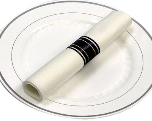 Reflections Fork, Knife, and Spoon Kit in a White Linen-Quality Napkin Roll, Silver (120-Count) - Flatware Roll