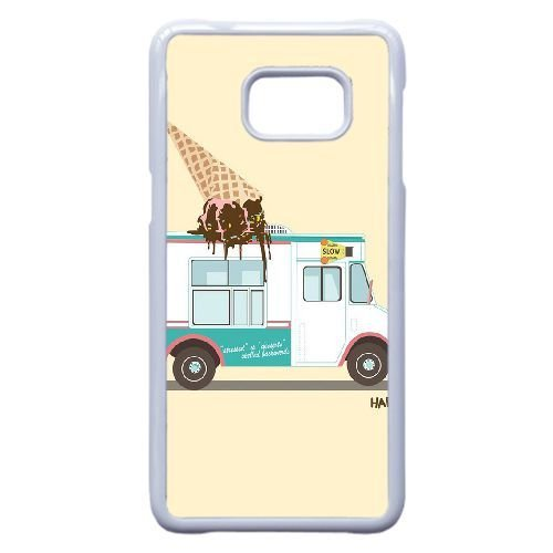Samsung Galaxy S6 Edge Plus Case,Icy Summer - Cute Ice Cream Truck Best Durable Hard Plastic Phone Case for Samsung Galaxy S6 Edge Plus [Creative Cartoon Series]-White - Plastic Hard Bank