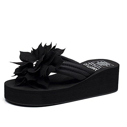 CHENGXIAOXUAN Verano Señoras Zapatillas Zapatillas Al Aire Libre Chanclas Antideslizantes Zapatos De Playa Hechos A Mano Flores Cuña Talones De Fondo Grueso Pies Femeninos Zapatillas Frescas Black