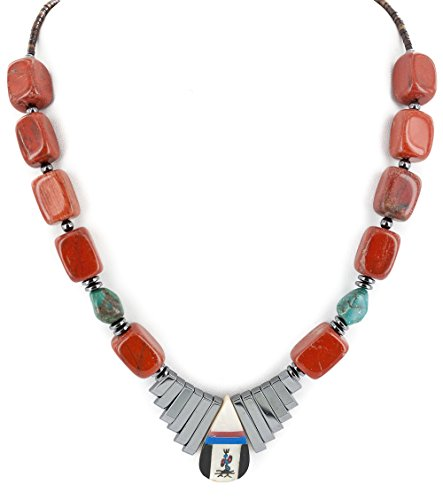 Turquoise Lapis Inlay - $250Tag Silver Navajo Inlay Natural Turquoise Red Jasper MOP Lapis Hematite Native American Necklace