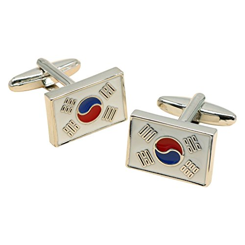 Flag enamel cufflinks, square bullet cufflinks,brass plated white steel, Korea flag cufflink