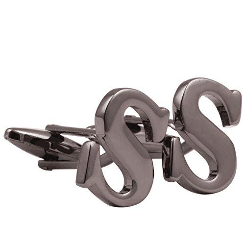 H&H Men's Shirts Cufflinks Alphabet Letter 4 Color(A-Z) Gun Black S Black Shirt Gold Letters