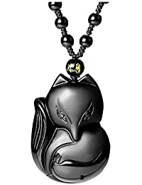 Hand Carved Natural Genuine Obsidian Talisman Patron Saint Buddha Head Pendant Adjustable Woven Rope Beads necklace Amulet Hanging Ornament