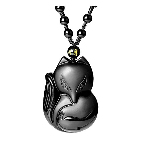 Top Plaza Natural Black Obsidian Fox Talisman Pendant Necklace For Protection,Good Luck (Natural Fox)