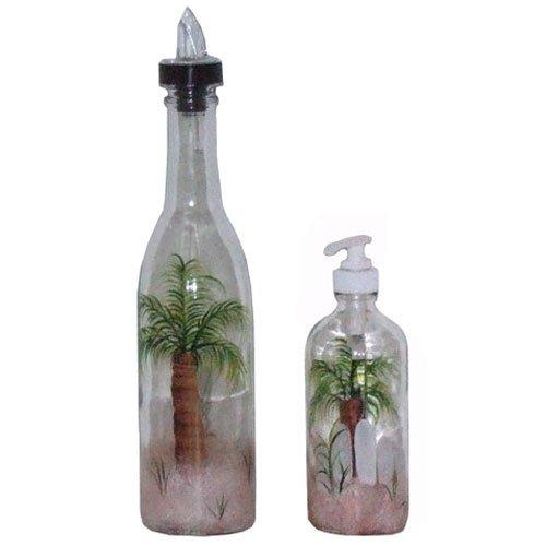 ArtisanStreet's Palm Tree Design Pour Bottle & Soap Pump Dispenser Set. Hand Painted