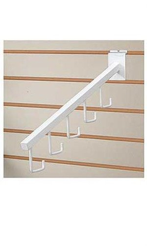 10 Pc White Waterfall Slatwall Faceout - 5 J-Hook Tube Available in Black/White