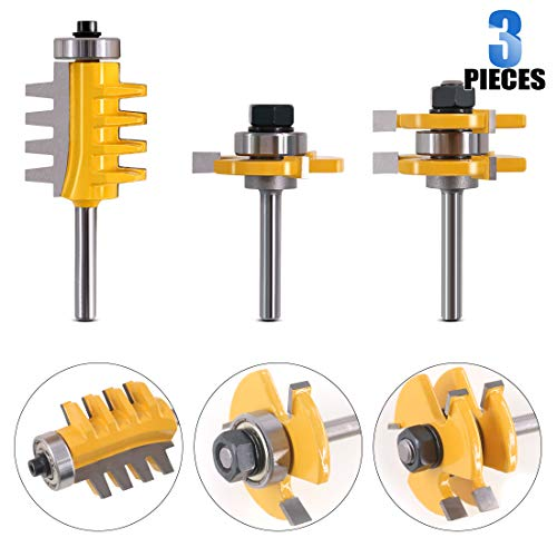 Glarks 3Pcs 1/4 Inch Shank Tongue and Groove Router Bit & Finger Joint Router Bit, Woodworking Wood Cutter, Wood Carbide Groove Tongue Milling Tool for Door, Table, Shelves, Wall, Chipboard, Splint
