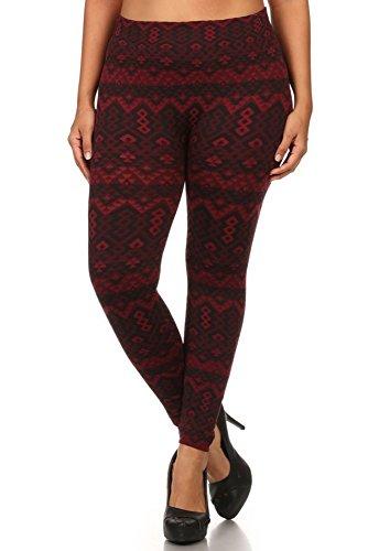World of Leggings Crimson Holiday Fleece Lined Plus Size Leggings