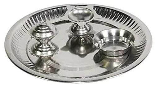 Indoselection Steel Decorative Puja Thali  18 cm