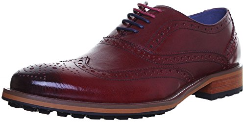 Justin Reece Oliver Mens Leather Matt Shoes (8 UK, Wine JL25)
