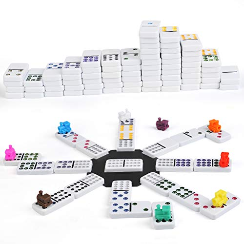 (FOCCTS Double 12 Mexican Train Dominoes in Tin A Great & Traditional Family Game with A Lot of Fun)