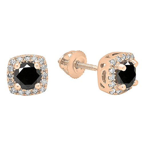 0.85 Carat (ctw) 10K Rose Gold Each 4 MM Round Black & White Diamond Ladies Halo Stud (0.85 Ct Ladies Diamond)