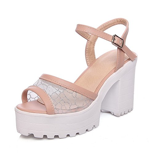 AllhqFashion Women's Soft Material Buckle Open Toe High Heels Solid Heeled-Sandals, Pink, - Shopping Greensboro Nc