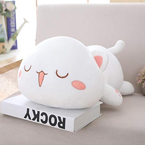 MIIA Cat Plush Toy - Lying Cat Plush Toys Stuffed Cute Cat Doll Lovely Animal Pillow Soft Cartoon Cushion Kid Gift - 20 Inch White Sleeping Eyes - Bulk Small Dolce Pet Large Monkey Big Giant