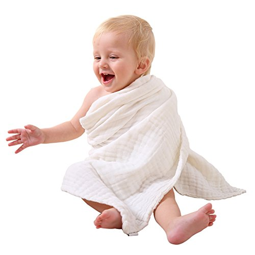 Magic Baby Bath Towel/Blanket - Organic and Hypoallergenic, Soft Muslin Cotton Newborn Towels and Washcloths Keep Kids Warm for Beach Swimming 41x41 Inch (Pack of 2, White)
