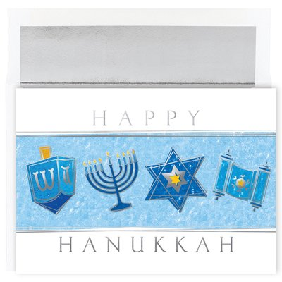 Masterpiece Studios Hanukkah Icons Boxed Cards, 18 Cards with 18 Foil Lined Envelopes Foil Icon