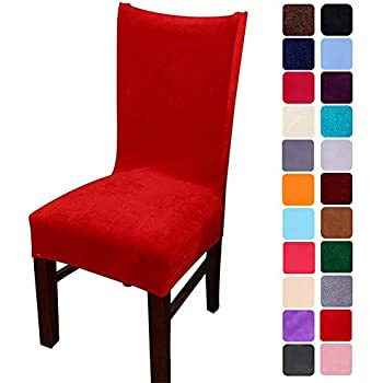 smiry Velvet Stretch Dining Room Chair Covers Soft Removable Dining Chair Slipcovers Set of 6, Red