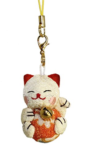 Orange Cat Charm - Lucky Cat Smartphone Cell Phone Charm (Beige/Orange)