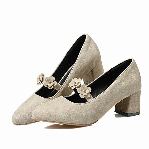 Mee Shoes Damen chunky heels Blume Nubukleder Pumps Hellgrau