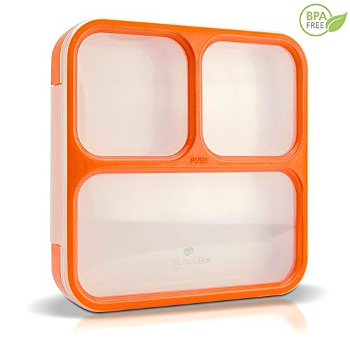 MunchBox Bento Lunch Box-Sleek Edition (Orange) Ultra-Slim Tray Style Leakproof 3-Compartment w/Air Tight Seal Microwavable-Dishwasher Friendly - for Kids & Adults.