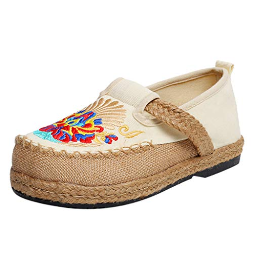Wedge Toe Jayden Peep - JJHAEVDY Womens Floral Embroidered Chinese Style Espadrilles Flats Shoes Classic Comfort Straw Non-Slip Slip On Loafers