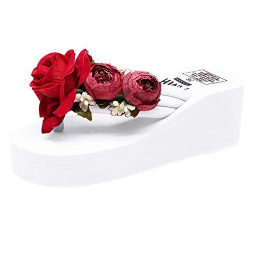 Orangeskycn Women Sandals Girls Hand-Made Floral Wedges Flip Flops High Heel Sandals Slippers Beach Shoes White