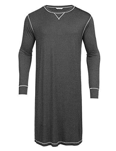 Ekouaer Nightgown Mens Scoop Neck Nightshirts Long Sleeve Lounge Sleepwear (Dark Grey,M)