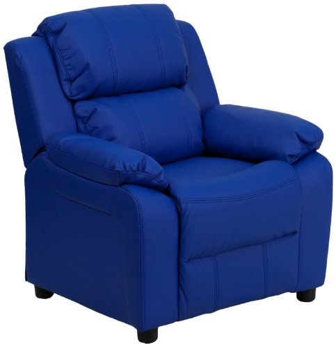 Deluxe Heavily Padded Contemporary Blue Vinyl Kids Recliner with Storage Arms BT-7985-KID-BLUE-GG by Flash Furniture