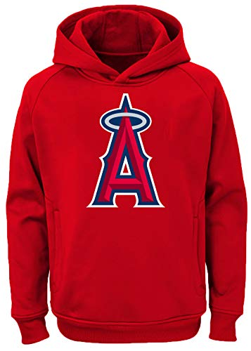 - Outerstuff MLB Youth 8-20 Team Color Polyester Performance Primary Logo Pullover Sweatshirt Hoodie (Large 14/16, Los Angeles Angels)