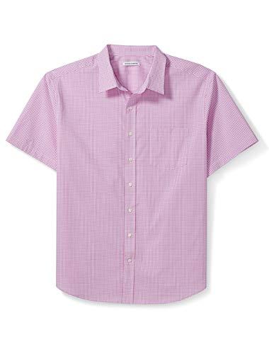 Amazon Essentials Men's Big & Tall Short-Sleeve Gingham Shirt fit by DXL, Pink, 4X