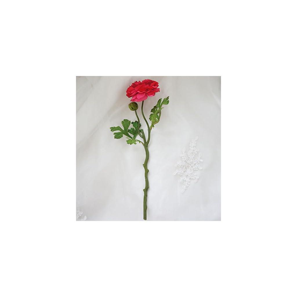 Lily Garden 6 Stems Silk Ranunculus Artificial Flowers (Red)