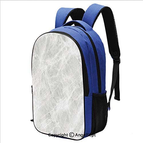 School Backpack for Women Men Abstract Soft Pastel Toned Onyx Stone Background with Grunge Effects Image Lightweight Backpacks School Bags Kids Bookbags,Light Grey White ()