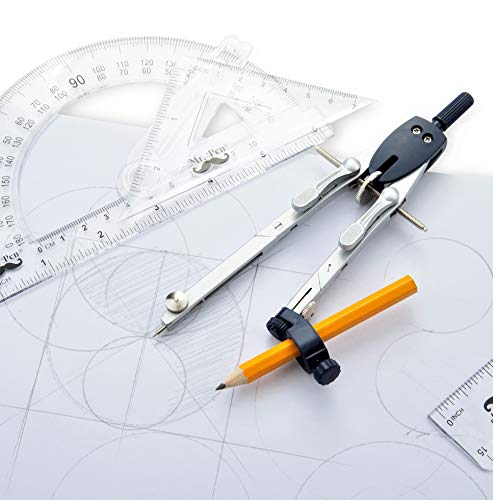 Mr. Pen- Professional Compass with Lock, Up to 18 inch Diameter, Compass for Geometry, Drafting Compass, Precision Compass Math, Compass Drawing, Compass with Wheel, Metal Compass Geometry
