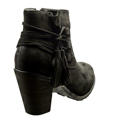 Angkorly - Chaussure Mode Bottine cavalier femme pom-pom frange Talon haut bloc 7 CM - Noir