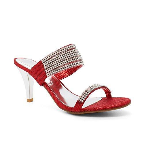 London Footwear Ouvertes à Rouge Rouge l'arrière femme H0xHdfqw