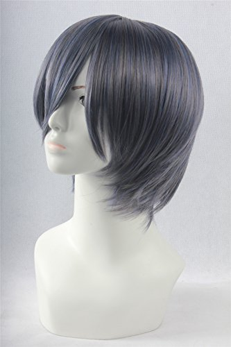 Icoser Black Bulter Ciel Phantomhive Anime Cosplay Wigs Party Short Synthetic Hair 30cm
